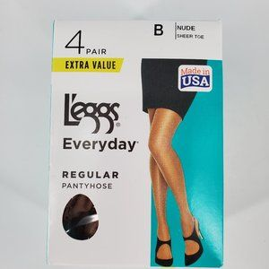L'eggs Everyday Nude Pantyhose 4 pair pack Size B